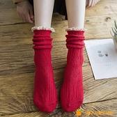 襪子女中筒堆堆襪粗線純棉秋冬金絲蕾絲花邊襪【小橘子】