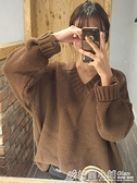 打底衫 毛衣女秋冬外穿新款日系慵懶風v領繭型套頭寬鬆長袖針織上衣 中秋特惠