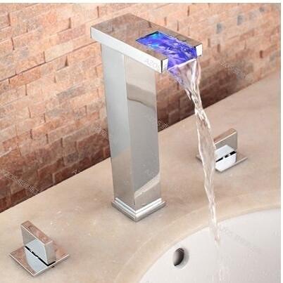 雙把美式瀑布面盆水龍頭衛生間浴室雙把洗臉臺盆分體龍頭冷熱全銅(一字型加高款)