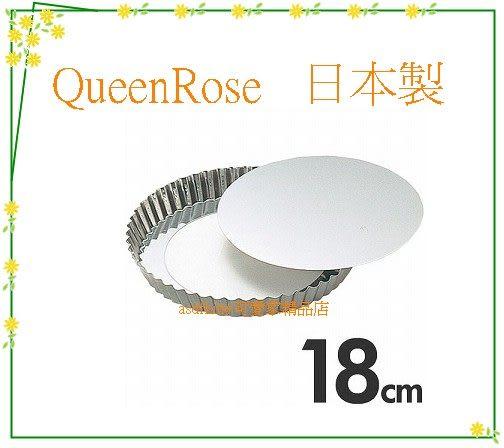 廚房【asdfkitty】QueenRose日本霜鳥不鏽鋼活動分離式花型烤派餅盤-18公分-日本製