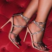 新款透明交叉帶奢華水鉆大碼尖頭高跟涼鞋女 夜店舞臺表演高跟鞋