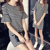 【藍色巴黎 】簡約經典條紋短袖俏麗短洋裝 【28899】