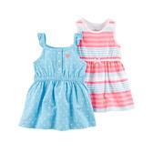美國Carter's卡特童裝 女寶寶 無袖裙子&裙肩裙子&內褲 藍點點【CA121I179】