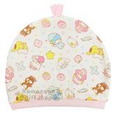 〔小禮堂〕台灣佳美 Sanrio大集合 棉質嬰兒帽《白.睡覺.滿版》童裝.童帽.棉帽 4710482-07124