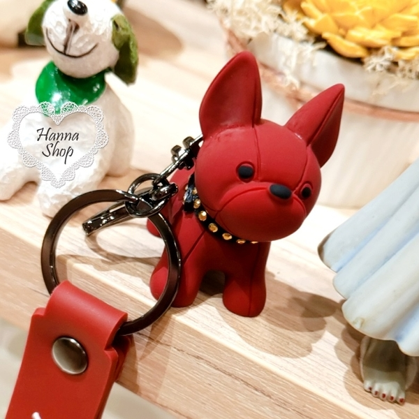 《花花創意会社》外流。新款法鬥狗狗個性吊飾質感情侶吊飾鑰匙圈 三色【H7040】