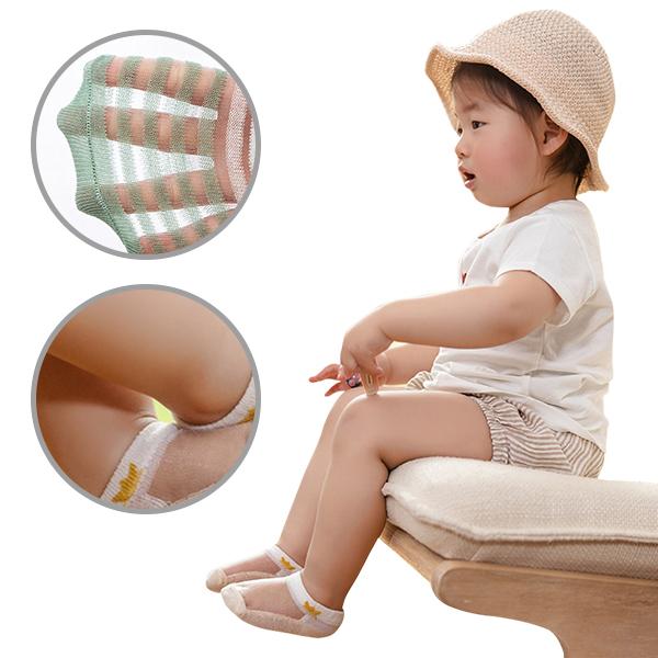 5雙-兒童襪子超薄棉鏤空嬰幼寶寶冰絲船襪-JoyBaby