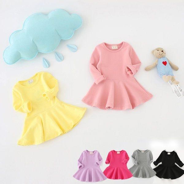 棉柔素色裙擺長袖連身洋裝