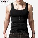 方領背心男士棉質緊身運動健身青年修身型透氣跨欄打底汗背心夏潮