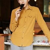 加絨襯衫-簡潔純粹精心設計男長袖上衣5色72am14【巴黎精品】