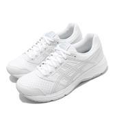 Asics 慢跑鞋 Gel-Contend 5 SL Wide 寬楦 白 灰 女鞋 皮革鞋面 運動鞋 【ACS】 1132A043100