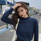 長袖T恤 韓版chic修身顯瘦半高領長袖T恤女春新款學生純色打底衫上衣