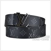 LV M9043V INITIALES鐵黑釦頭LOGO Monogram帆布拼小牛皮雙面設計扣式皮帶(石墨黑)