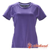 【wildland 荒野】女彈性條紋拼接圓領上衣『葡萄紫』0A71617 T恤 上衣 休閒 抗紫外線 吸濕 排汗 印花