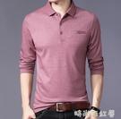 中年男士長袖t恤夏季純棉爸爸春秋裝薄款小衫上衣服秋衣外穿土丅「時尚彩紅屋」