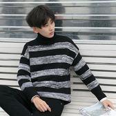 冬季港風chic上衣韓版套頭條紋毛衣男冬裝男士加厚保暖高領針織衫  夢想生活家