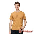 【wildland 荒野】男 彈性LOGO印花圓領短袖上衣『椒橙色』0A91612 露營 登山 吸濕 排汗 快乾