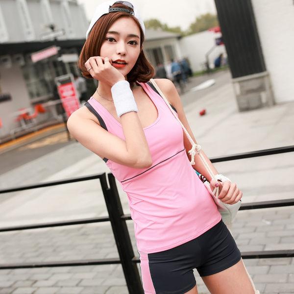 韓國春夏新款瑜伽服套裝套女短袖背心休閒運動跑步健身喻咖服   -cmx0038