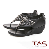 TAS 華麗水鑽夾腳楔型涼鞋-人氣黑