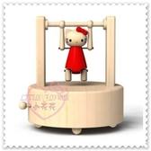 ♥小花花日本精品♥ Hello Kitty 限量款木製立體公仔運動選手吊單槓造型 音樂盒療癒小物
