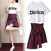 套裝 韓版學生休閑時尚女學院風短袖T恤格子半身裙兩件套
