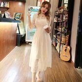 2018夏季新款韓版氣質V領收腰顯瘦大擺蕾絲洋裝 打底吊帶裙套裝