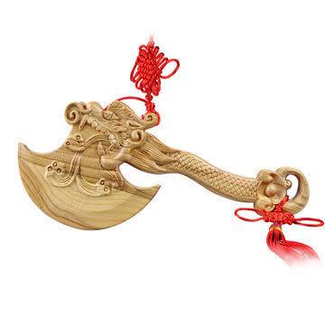 桃木精雕龍頭斧子35cm掛飾結婚做福一斧壓百禍