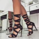 歐美時尚性感夜店高跟鞋女 交叉帶超高跟羅馬夜店大碼涼鞋女