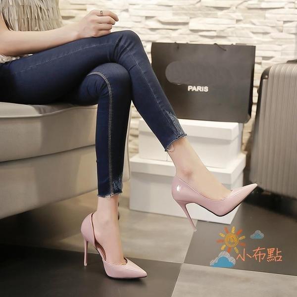 春新款歐美側空高跟鞋細跟尖頭鞋性感紅色淺口女單鞋婚鞋潮 【八折搶購】
