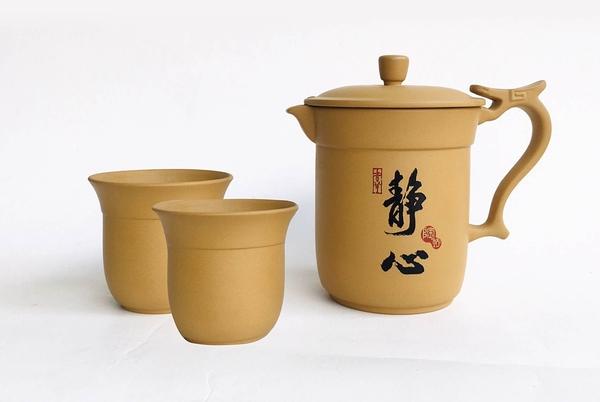*巧中杯*(黃泥) - 一壺二杯李日勝創作- 特殊崁蓋設計茶器/辦公室型茶壺【亞舍泥作】