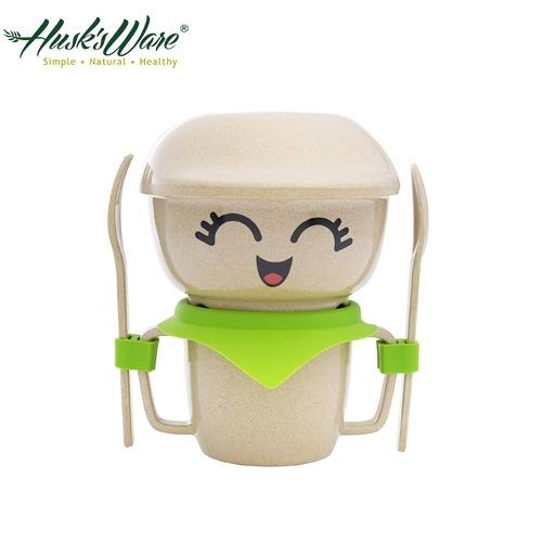 【南紡購物中心】【美國Husk's ware】稻殼天然無毒環保兒童餐具經典人偶迷你款-綠色