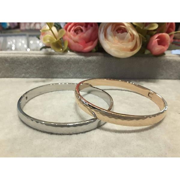雪曼精品特級鋼製 玫瑰金 菱格紋造型手環 寬版