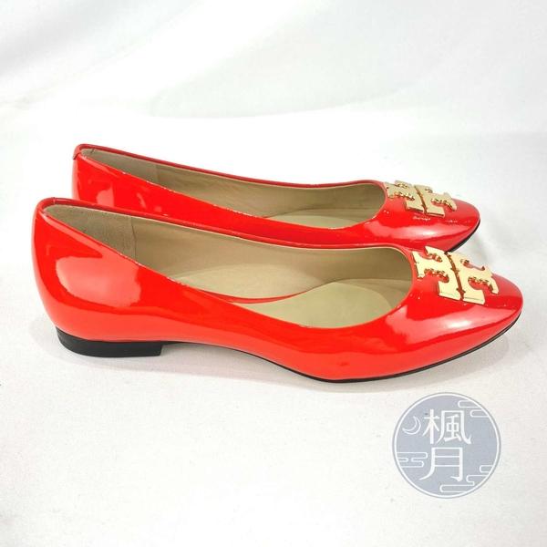 BRAND楓月 TORY BURCH 亮橘色 珊瑚橘 金LOGO 漆皮 娃娃鞋 #5.5 平底鞋 娃娃鞋