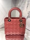 ■專櫃91折■ Dior 迪奧 全新真品 Lady Dior 中款五格小羊皮黛妃包 玫瑰粉色