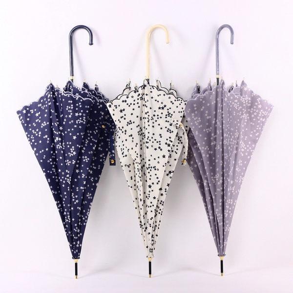 日式小清新文藝彎鉤直柄晴雨傘星星碎花邊蘑菇傘拱形公主長柄傘女