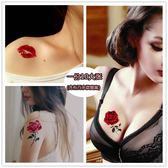 全館超增點大放送紋身貼防水女持久胸部性感刺青仿真韓國誘惑紋身貼紙個性玫瑰花