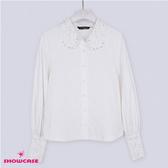 【SHOWCASE】氣質蕾絲貼鑽泡泡長袖質感白襯衫(白)