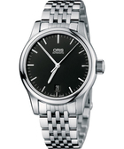 ORIS 豪利時 Classic 經典三針機械鋼帶手錶-黑 0173375784054-0781861
