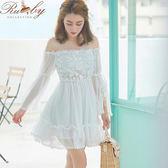 洋裝 一字領刺繡花朵綁帶長袖洋裝-白色-Ruby s露比午茶