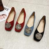 六月芬蘭方頭V口浪花鑽扣蜜桃絨布平底鞋娃娃鞋包鞋(35-41大尺碼)現貨