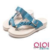 拖鞋 唯美編織真皮夾腳厚底涼拖鞋(藍) * 0101shoes  【18-425b】【現+預】