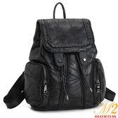 羊皮包-MOROM.羊皮拼接編織大容量口袋後背包(黑色)7701