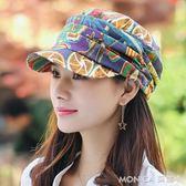 帽子   帽子女秋冬鴨舌帽田園民族風碎花棒球帽女夏季時裝帽戶外登山 莫妮卡小屋