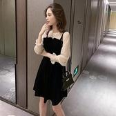 小個子可鹽可甜氣質雪紡洋裝 小心機吊帶裙子 黑色絲絨連衣裙超仙女早秋 萬聖節狂歡價