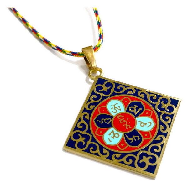 【十相自在】六字大明咒 正方形銅質吊飾項鍊