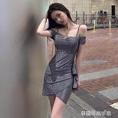 吊帶洋裝夏新款性感一字肩時尚氣質收腰顯瘦包臀裙夜店女裝 【快速出貨】