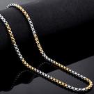 《 QBOX 》FASHION 飾品【N10BN1012】精緻個性雙色交叉環扣鈦鋼項鍊子/鋼鍊條