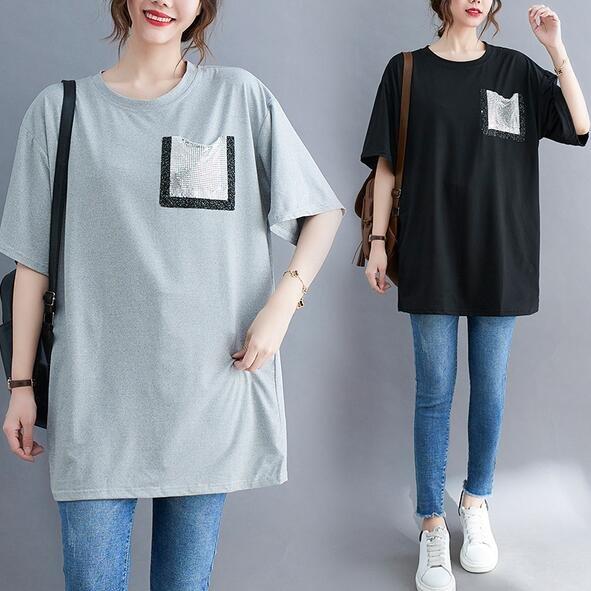 上衣 簡約 短袖T 寬鬆 新款寬鬆大碼T恤衫顯瘦百搭上衣MB048E-2206.胖胖唯依