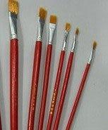 模型上色工具 毛筆 平頭筆 畫筆 套裝 6支