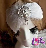 ★依芝鎂★k548新娘髮飾水鑽造型羽毛髮夾結婚頭飾,1個售價250元