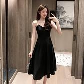 黑色吊帶裙女夏收腰顯瘦性感內搭打底外穿中長洋裝赫本小黑裙秋  【夏日新品】